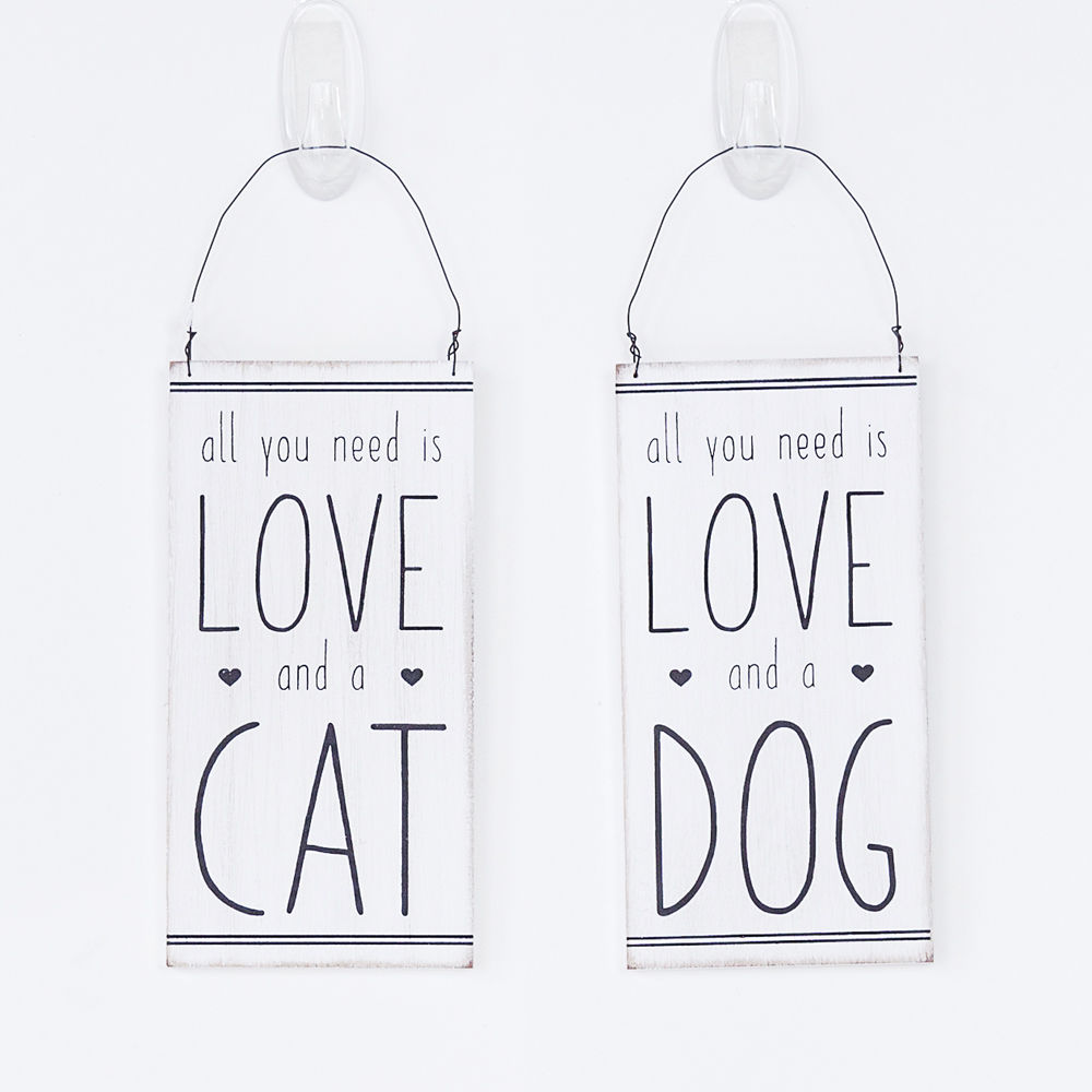 3 5 X 7 25 X 25 Hanging Wood Double Sided Sign Love Cat Love Dog White Black 15270 Adams Co