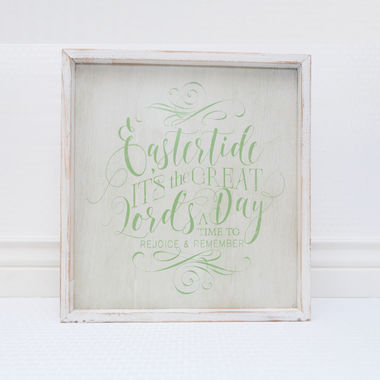 Click here to see Adams&Co 30091 14.5 x 15.75 x 1.5 Wood Framed Sign (Eastertide, It's The Great Lord's...) White/Green - 30091