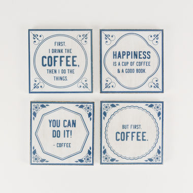 Click here to see Adams&Co 15453 15453 4x4x.25 coaster s/4 (COFFEE) wh/bl