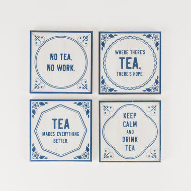 Click here to see Adams&Co 15452 15452 4x4x.25 coaster s/4 (TEA) wh/bl