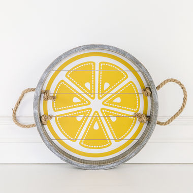 Click here to see Adams&Co 45026 45026 12x12x1.5 wd shplp tray (LEMON) wh/yl