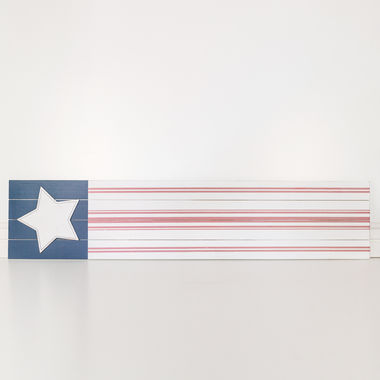 Click here to see Adams&Co 45013 45013 10x46x1 wood sign (FLAG) wh/bl/rd