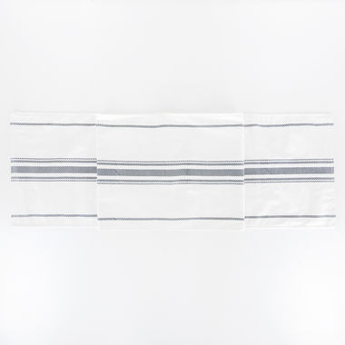 Click here to see Adams&Co 15462 15462 74x14 linen rvsbl tbl runner (STRIPES) wh/bl/gy