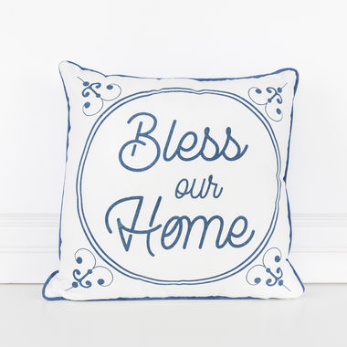 Click here to see Adams&Co 15459 15459 16x16 linen plw (BLESS) wh/bl