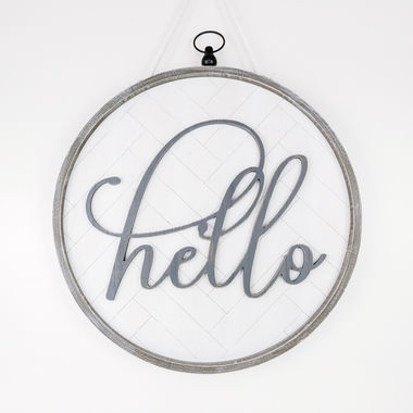 Click here to see Adams&Co 10969 10969 22x22x2 reversible round wooden framed sign (Hello), white/grey