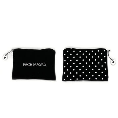 Click here to see Adams&Co 11155 11155 8.5x6x.5 canvas clutch (FACE MASKS) black/white polkadot