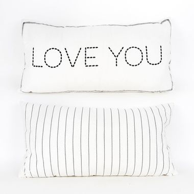 Click here to see Adams&Co 15606 15606 24x12 linen plw (LUV U) wh/gy