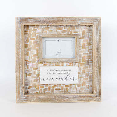 Click here to see Adams&Co 11311 11311 14x14x2 bamboo wood photo frame sign (RMBR) wh/ntrl/bk (6x4)