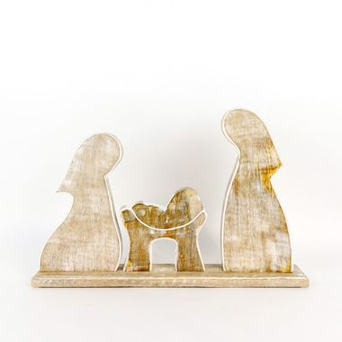Click here to see Adams&Co 70819 70819 18x11.5x2.5 mngo wd cutout on stnd (NATIVITY) ntrl/wh