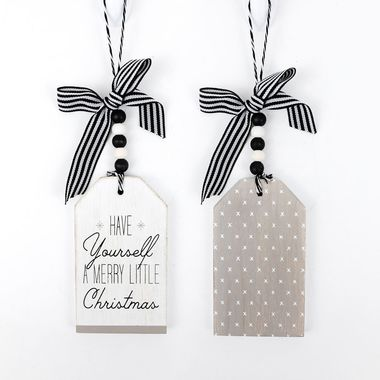 Click here to see Adams&Co 75427 75427 3x8x.5 reversible wood tag ornament (Have Yourself A Merry Little Christmas) white/black/grey