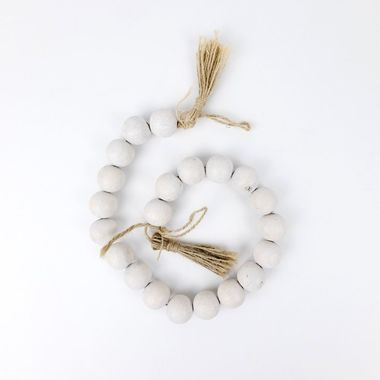 Click here to see Adams&Co 11408 11408 24x1 bmbo wd bead grlnd w/ tassels, white