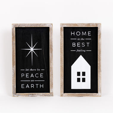 Click here to see Adams&Co 70954 70954 7x12.5x1.5 Reversible Wood Framed Sign (Peace/Home), black/white